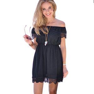 Off Shoulders Crochet Trim Little Black Dress